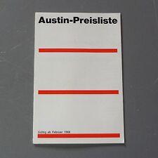 ✇ AUSTIN Mini Cooper 1100 1300 1800 Healey deutscher Prospekt Preisliste 1968