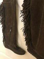 MINNETONKA Flat Brown Suede Leather Moccasins Style Boots with Fringe 38 UK 5