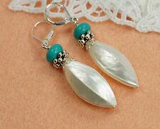 Ohrringe Silber mit Perlmutt Perlen Muschel und Türkis edle Trocha Muscheln