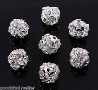 50 pcs 8mm Silver Plated Rhinestone Pave Spacer Beads Charms Findings