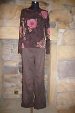 Ladies Maternity Outfit Brown Adjustable Jeans & Floral Chiffon Top Size: 10-12