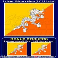BHUTAN Kingdom, Bhutani Flag Druk Yul, Bhutanese 100mm Sticker, Decal x1+2 BONUS