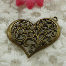 Free Ship 66 pieces bronze plated heart pendant 37x32mm #853