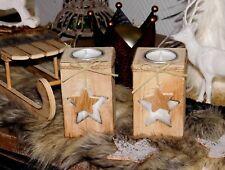 Kerzenhalter Teelichthalter Stern 2er Set  Holz  Neu