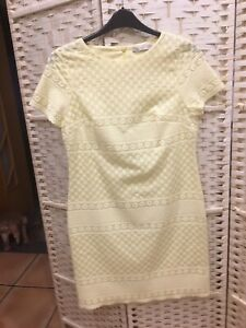Marks And Spencer Ladies New Dress Size 10 Pale Yellow The Fabric Is Embossed