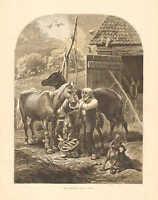 Horses, Farm Scene, Barnyard, Old Friends, by Davis, Vintage 1873 Antique Print