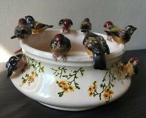 Jardinière bassin abreuvoir aux oiseaux en barbotine