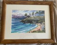 Jim Kingwell Signed Kapalua Bay Maui Hawaii Litho Art Print Matted and Framed