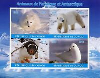 Wild Animals Stamps 2018 MNH Arctic Antarctic Polar Bears Penguins 4v IMPF M/S I