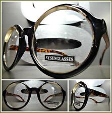 Mens Women VINTAGE RETRO Style Clear Lens EYE GLASSES Round Black Tortoise Frame