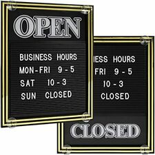 Open And Closed Sign With Letter Board For Customizable Message Store Business -