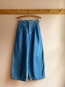 Vintage 90s Ralph Lauren wide leg high waist sailor jeans trousers denim pants 6