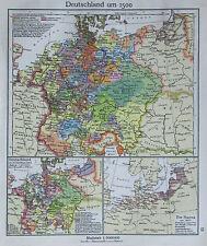 Deutschland um 1500 - alte Karte Landkarte aus 1922 old map