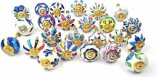 Set of 15 Blue Hand Painted Ceramic Round Pumpkin Assorted Knobs Cabinet Drawer