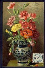CARTE POSTALE ANCIENNE Illustration Litho VASE FLEURS FLOWERS OEILLETS Eyelet