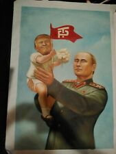 DONALD TRUMP ORIGINAL PAINTING WITH PUTIN POLITICAL PROPAGANDA ONE OF A KIND