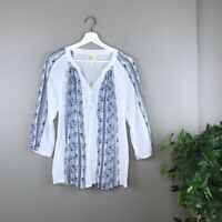 Anthropologie Fig and Flower Boho White Blue Multi Floral Striped Tunic Sz Small