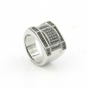 Men's Ice out White and Black Cubic Zirconium Diamond Pave Square Pinky Ring