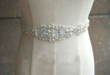 Vintage Crystal Bridal Sash Rhinestone Pearl Beaded Wedding Dress Belt Luxury