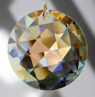 Round Faceted 45mm AB Crystal Criss Cross Prism SunCatcher 1-3/4 inches