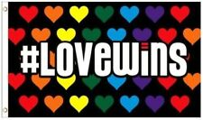 #LOVEWINS FLAG 3'X5' BANNER RAINBOW HEARTS LGBT SUPPORT LOVE WINS PRIDE