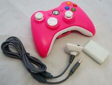 GENUINE Microsoft XBox 360 PINK/White Play & Charge Kit & Wireless Controller