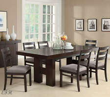 NEW WILTON MODERN CAPPUCCINO FINISH WOOD DINING TABLE SET w/ EXTENSION LEAF