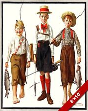 NORMAN ROCKWELL BOYS & THE CATCH FISHING ARTOIL PAINTING PRINT ON CANVAS PRINT
