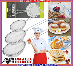 3 Strainer Stainless Steel Mesh Colander Set Food Tea Small Filter Sieve