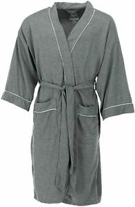 MEN'S WAFFLE ROBE FRUIT OF THE LOOM POLYESTER ONE SIZE SOFT LIGHTWEIGHT GRAY