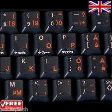 Swedish finnish Transparent Clavier Autocollants Avec Orange lettres pour pc portable