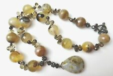 Natural Agate Beads Sterling Silver Necklace, Faceted, Teardrop Pendant, Lovely