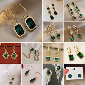 Fashion Emerald Crystal Tassel Earrings Stud Hook Drop Dangle Women Jewelry Gift
