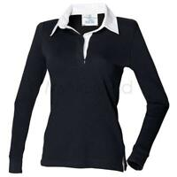 Front Row Womens Long Sleeve Plain Rugby Shirt