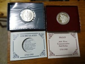 1982 D&S George Washington Silver Proof &Uncirculated Half Dollars FREE SHIPPING