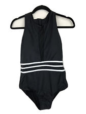 NWT Zip Racerback 1 Piece Swimsuit Bathing Swim Suit Sz 10 Black w/White Stripes