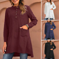 Womens Long Sleeve Button Tunic Top Shirt Casual Loose Basic Solid Cotton Blouse