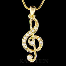 w Swarovski Crystal ~TREBLE g CLEF~ Musical music NOTE Charm Gold Tone Necklace