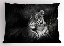 Black and White Pillow Sham Bengal Tiger King Size Pillowcase 36 x 20 Inches
