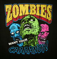 Zombie Want Your Candy Horror Monster Comical Halloween T-Shirt New Tags Sz LG