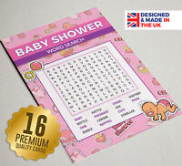 Baby Shower 'Word Search' Party Games,16 A6 Game Cards, girls (PINK) Dummy