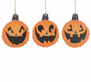 "Halloween Ornament Pumpkin Jack o' Lantern Set 3  5.5"" Wood Decor Gift"
