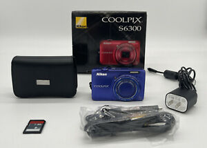 Nikon COOLPIX S6300 16.0MP Digital Camera Blue with SD Card Case Charger Works