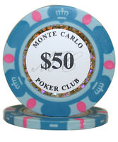 50pcs 14g Monte Carlo Poker Club Poker Chips $50