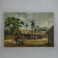 P251 QUADRO DIPINTO OLIO SU TELA PAESAGGIO VILLAGGIO AFRICANO AFRICA 30 x 21 cm