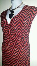 RALPH LAUREN ($160):  3X  RED AND BLACK CHEVERON PRINT WRAP STYLE DRESS