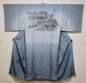 JAPANESE KIMONO SILK MENS JUBAN / TEMPLE / PINE TREE & MOUNTAIN / SILK FABRIC