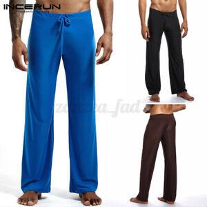 Mens Casual Loose Fit Soft Trousers Wide Leg Plain Pyjamas Drawstring Long Pants