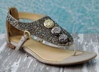 JEROME ROUSSEAU 39 Embellished Champagne Silver Gold Satin Sandals 8.5