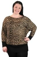 Ladies Womens Plus Size Long Sleeve Loose Baggy Animal Leopard Print Batwing Top